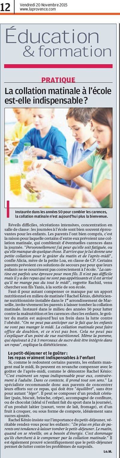 Article collation matinale sur la provence 1